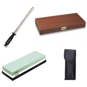 Afiladores, fundas y cajas