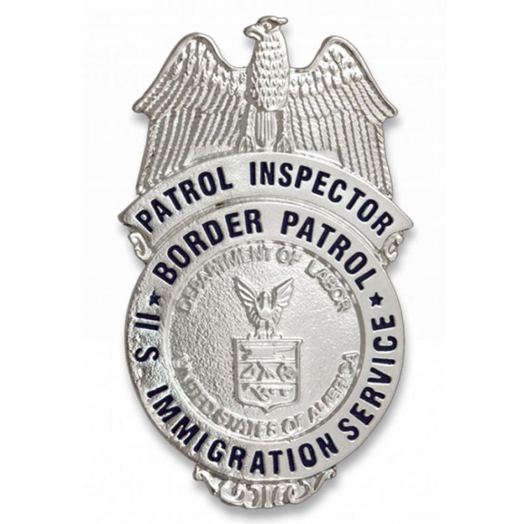 placa plateada US Patrol Inspector